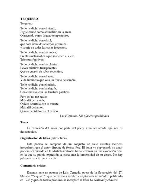 Te Quiero, Luis Cernuda (Comentario Resuelto) | Amor | Poesía