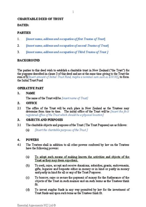 charitable trust deed template document and user guide sle new zealand