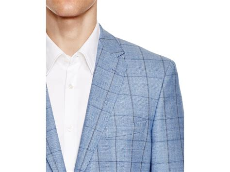 light blue windowpane sport coat windowpane regular fit sport coat in blue for lyst
