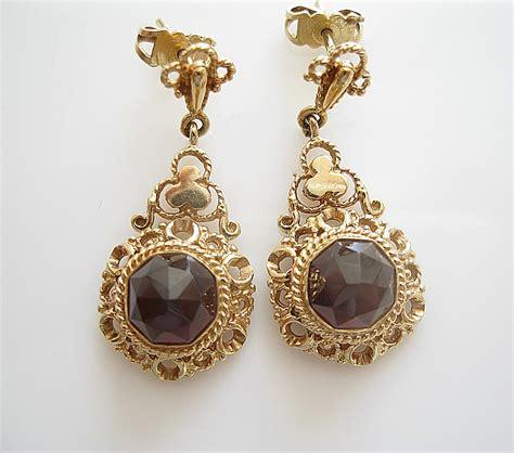vintage jewelry antique garnet 14karat gold earrings antique jewelry
