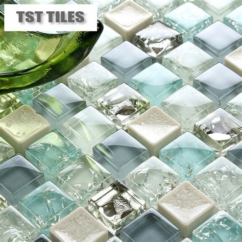 cheap glass tiles for kitchen backsplashes 11 sheets lot wholesale sea glass tiles mosaics blue white