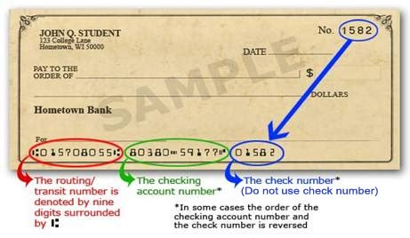 bank transit number account number on checks