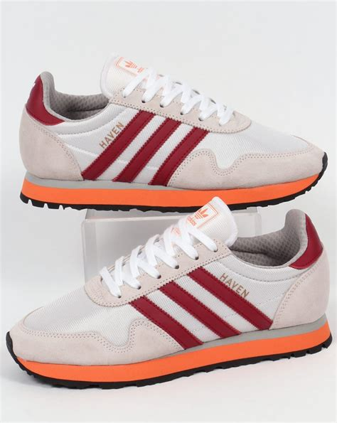 adidas haven adidas haven trainers white burgundy orange originals