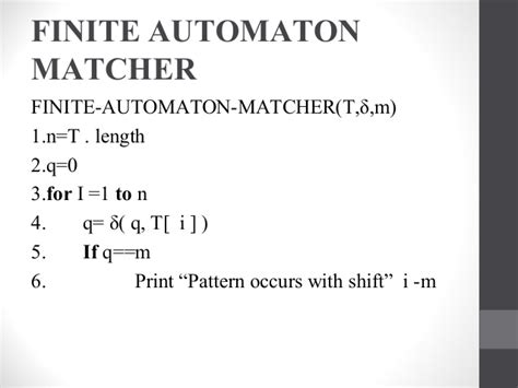 pattern matching finite automata string matching with finite state automata