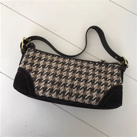 Houndstooth Shoulder Bag coach coach brown tweed houndstooth small shoulder bag