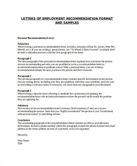 letter of recommendation for employment 79 exles of recommendation letters