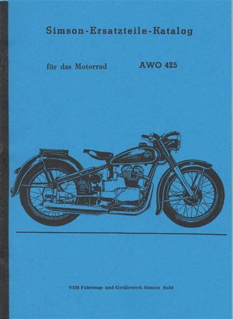 Triumph Motorrad Ersatzteilkatalog by Ersatzteile Katalog F 252 R Das Motorrad Awo 425 Oldtimer