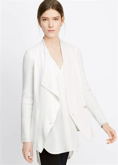 Fashion Find Front Drape Jacket by Vince Ribbed Sleeve Drape Front Jacket In White Lyst