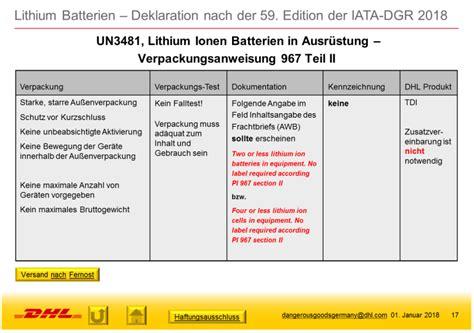 Dhl Express Adressaufkleber by Akkus Und Batterien Welche Gefahrgut Vorschriften Gelten