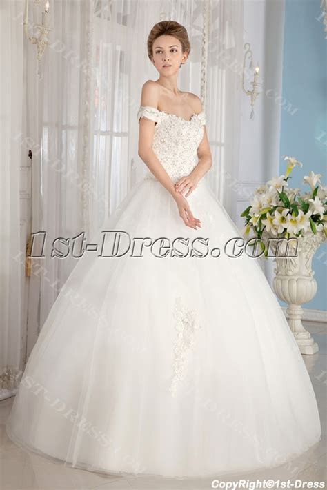 Ivory Off Shoulder Cinderella Ball Gown Wedding Dresses:1st dress.com
