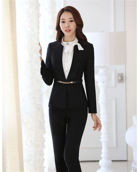 design clothes business office uniform designs black blazer women business suits