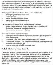 Business Plan Template For Child Care Center by Sle Daycare Business Plan 8 Exles In Word Pdf