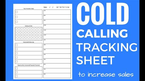cold call tracking sheet and tips youtube