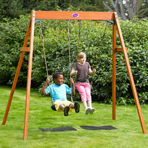 kids on swing plum outdoor garden childrens double swing wooden frame