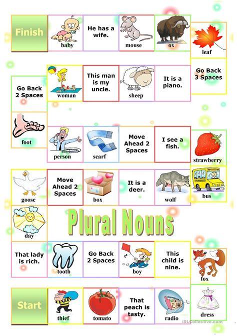 printable games for plurals plural nouns board game worksheet free esl printable