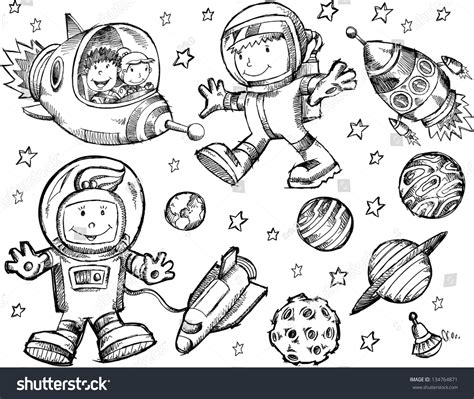 doodles in outer space 1539195775 cute sketch drawing doodle outer space 스톡 벡터 134764871 shutterstock