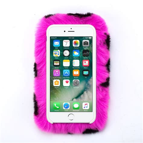 hot pink cheetah leopard soft fur furry fluffy case cover  apple iphone