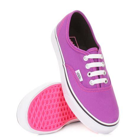 neon shoes womens vans authentic neon purple true white canvas
