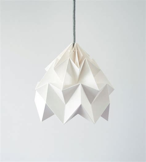 Folded Paper L Shade - origami l moth white