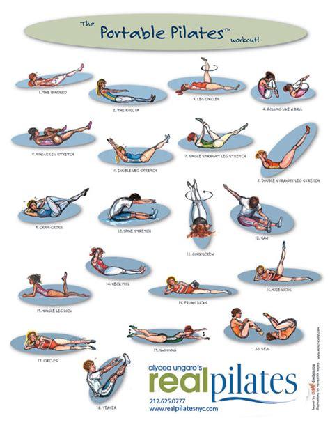 Mat Ab Workout by Mat Pilates Exercise Chart Portable Pilates Chart Via