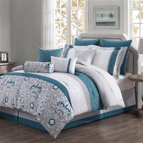 teal and gray comforter sets chloe 10 piece reversible comforter set teal gray ivory
