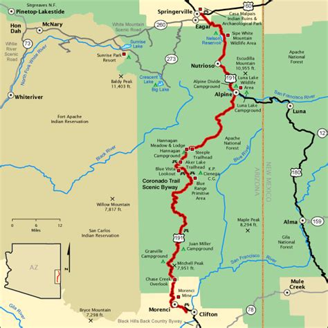 national scenic byway coronado trail scenic byway map america s byways