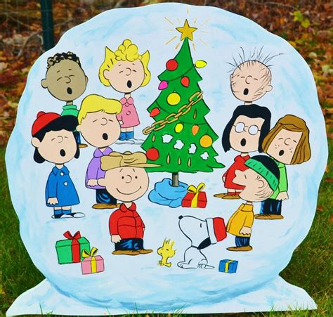 lawn stake peanuts gang   snowball yard art christmas decorations lawn art ebay
