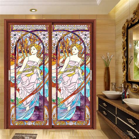 Static Film Stained Glass Stickers Window Grilles Painted Stained Glass Stickers For Doors