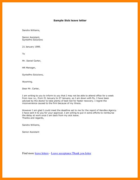 Sle Letter Leave Absence School 5 Leave Letter Format For School Nanny Resumed