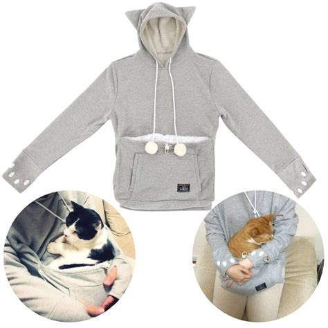 hoodie with pouch unihabitat mewgaroo hoodie upa 32l gy cat shaped sweat with cat pouch l size ebay