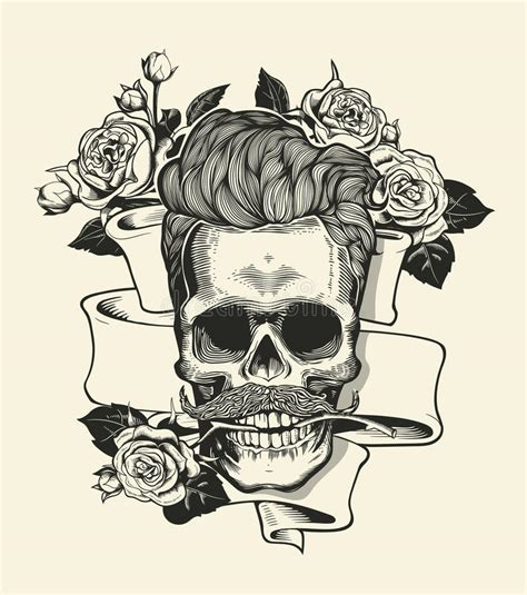 imagenes hipster de calaveras skull hipster skull silhouette with mustache and arose in