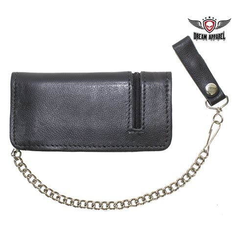 Chain Zipper black leather chain wallet with zipper