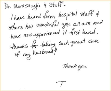 Thank You Letter Hospital Staff Testimonials Thank You Cards Dr Movassaghi