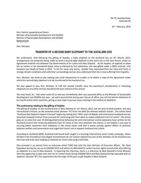 Letter To Letter To Minister Of Sustainability And Wildlife Pdf Docdroid