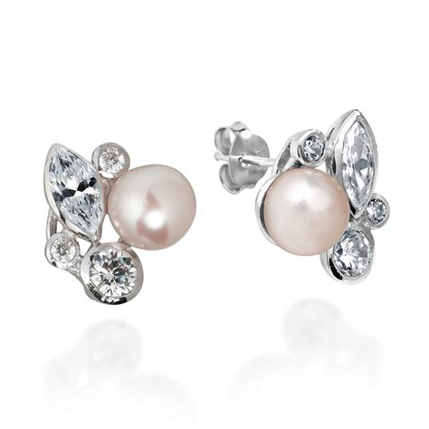 Pch Jewelers - sophisticated pearl cz sterling silver necklace earrings set aeravida