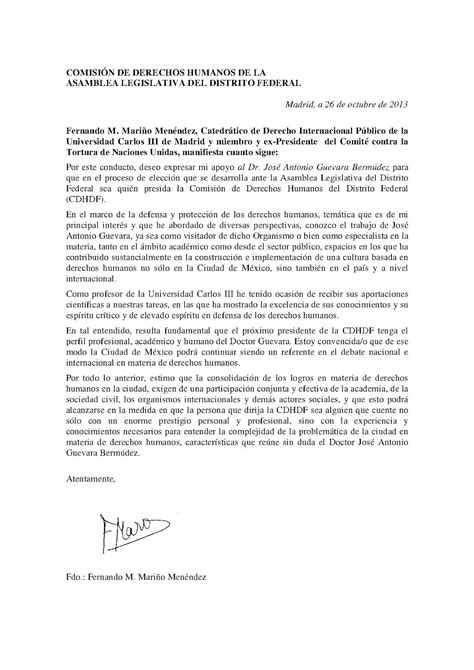 cartas de apoyo para la candidatura a la presidencia de la comisi 243 n de derechos humanos