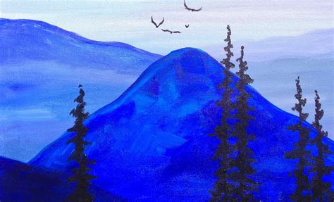 paint it blue paint it blue easy mountains acrylic tutorial asl youtube
