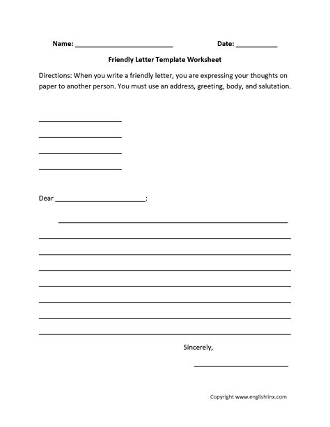 Business Letter Template 3rd Grade Content By Subject Worksheets Writing Worksheets
