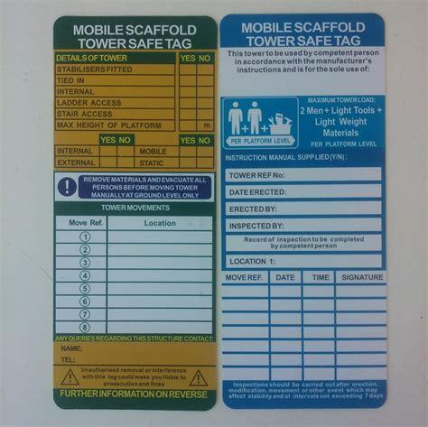 aluminium mobile scaffolding aluminium mobile scaffold safety tag kit complete scaffold