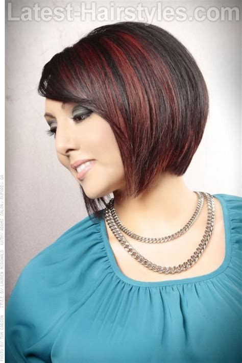 chocolate hair color with highlights for angled bobs short angled bob hairstyle with highlights side view