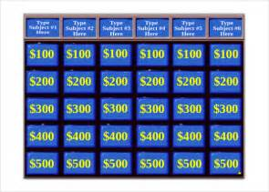Jeopardy Printable Template by 10 Jeopardy Templates Free Sle Exle Format