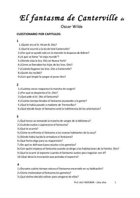 el fantasma de canterville preguntas - Preguntas De Comprension Del Fantasma De Canterville