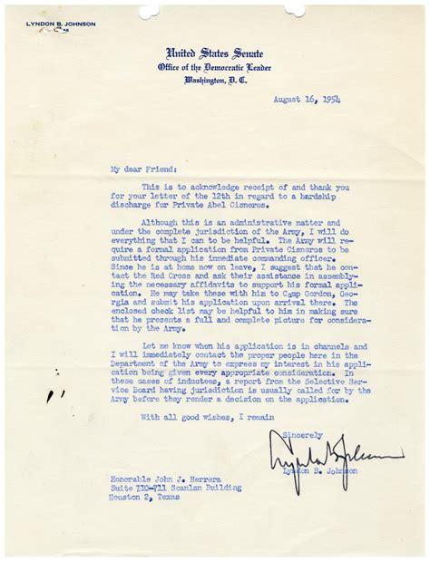 Hardship Letter Department Of Education letter from lyndon b johnson to j herrera 1954
