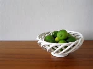 white fruit bowl white ceramic lattice fruit bowl vintage