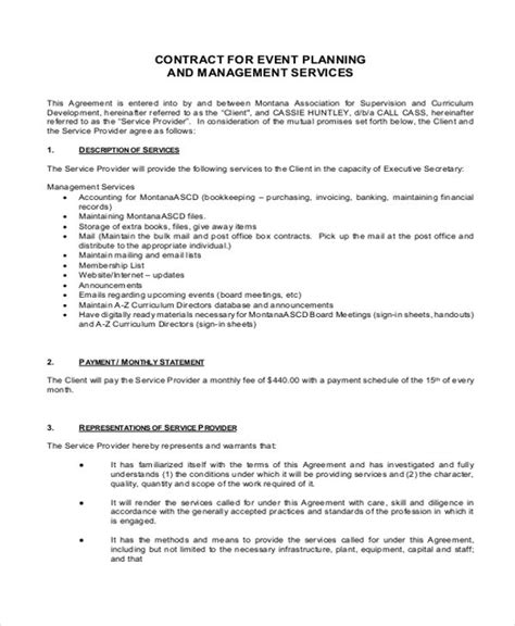 14 Event Planner Contract Sles Sle Templates Event Contract Template