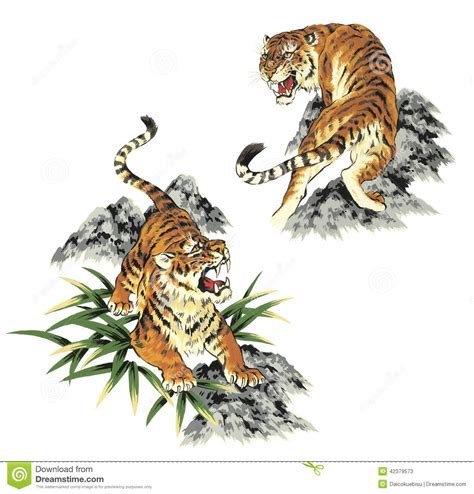 japanese tiger stock illustration image of creature