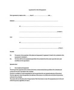 Equipment Lease Agreement Template by 12 Equipment Rental Agreement Templates Free Sle