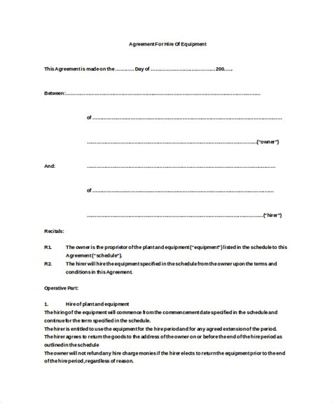 contract for hire template 12 equipment rental agreement templates free sle