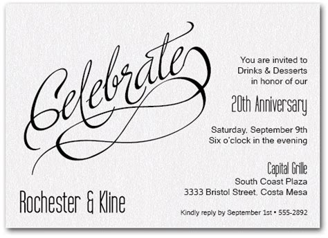 Celebrate Shimmery White Business Invitations Work Anniversary Announcement Template