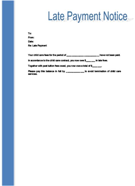 Transfer Letter Due To Child Care Late Payment Notice Printable For Child Care Childcare